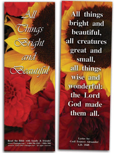 "Bible Cards & Bookmarks - All Things Bright And Beautiful - Pack Of 25 Cards - 2""x6"""