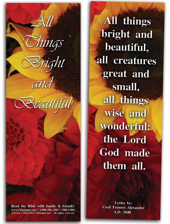 Bible Cards & Bookmarks - All Things Bright And Beautiful - Pack Of 25 Cards - 2