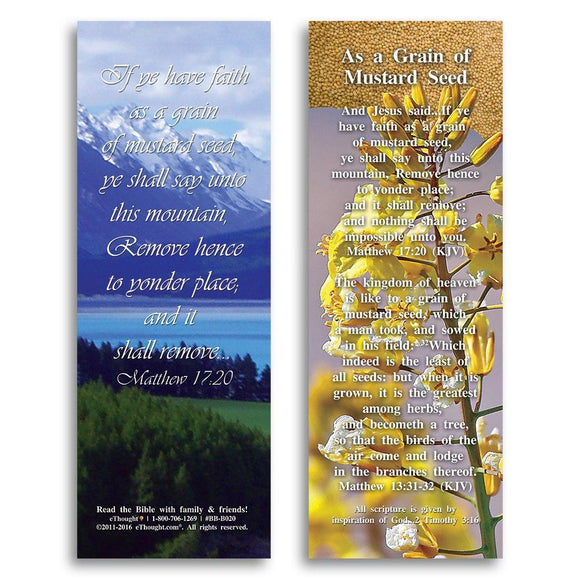 Bible Cards & Bookmarks - As A Grain Of Mustard Seed - Pack Of 25 Cards - 2