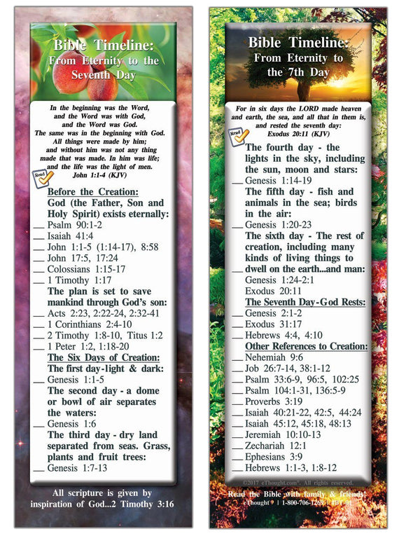 Bible Cards & Bookmarks - Bible Timeline - From Eternity To The Seventh Day - Pack Of 25 Cards