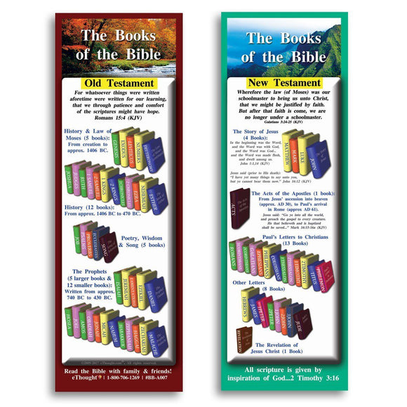 Bible Cards & Bookmarks - Books Of The Bible - Pack Of 25 Cards