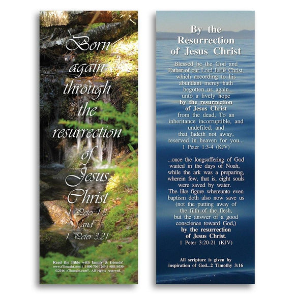 Bible Cards & Bookmarks - By The Resurrection Of Jesus Christ - Pack Of 25 Cards - 2x6