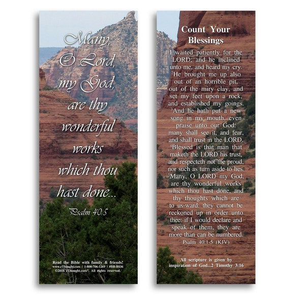 Bible Cards & Bookmarks - Count Your Blessings - Pack Of 25 Cards - 2x6
