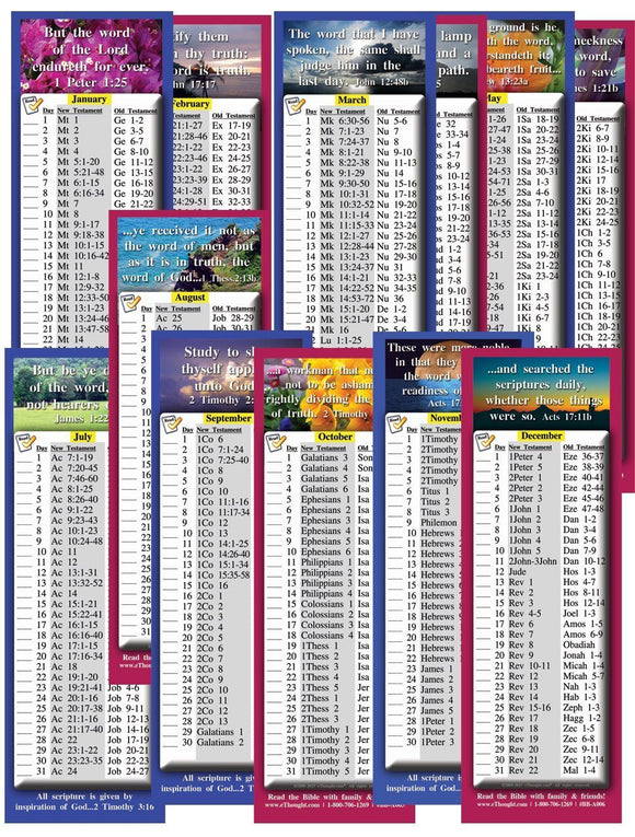 Bible Cards & Bookmarks - Daily Bible Reading Schedule By Month - Four Sets (24 Cards Total)