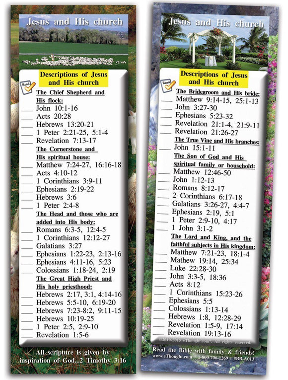 Bible Cards & Bookmarks - Descriptions Of Jesus And His Church - Pack Of 25 Cards