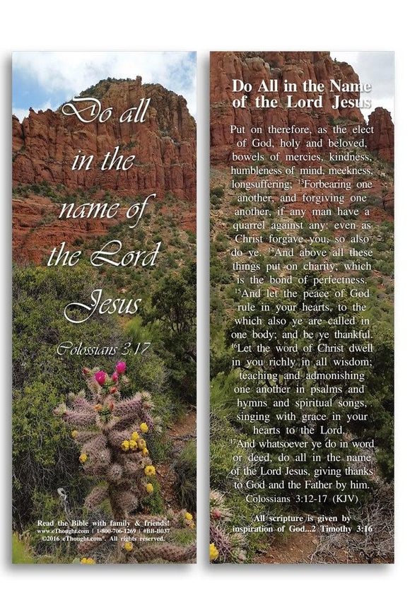 Bible Cards & Bookmarks - Do All In The Name Of The Lord Jesus - Pack Of 25 Cards - 2x6