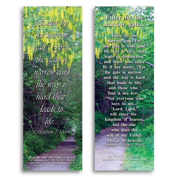 Bible Cards & Bookmarks - Enter By The Narrow Gate - Pack Of 25 Cards - 2