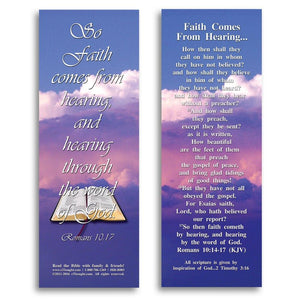 "Bible Cards & Bookmarks - Faith Comes From Hearing - Pack Of 25 Cards - 2""x6"""