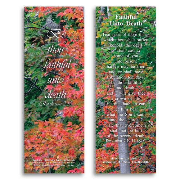 Bible Cards & Bookmarks - Faithful Unto Death - Pack Of 25 Cards - 2x6