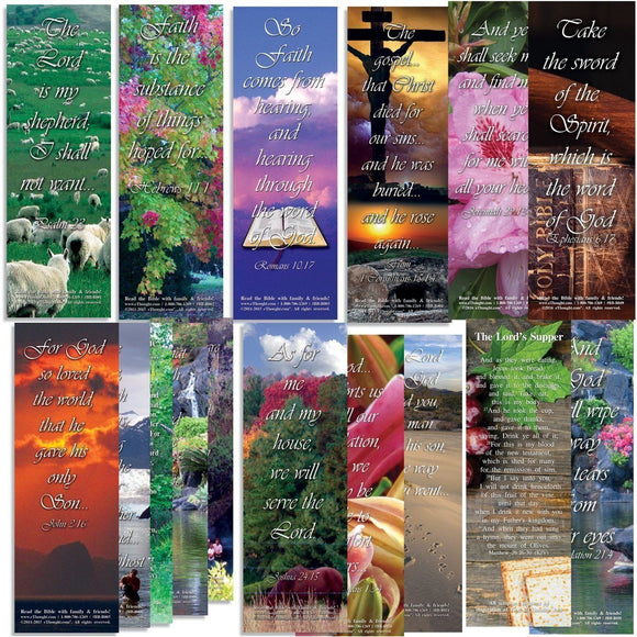 Bible Cards & Bookmarks - Favorite Bible Verses - Assorted Pack Of 50