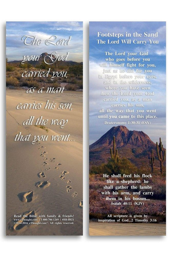 Bible Cards & Bookmarks - Footsteps In The Sand - Pack Of 25 Cards 2
