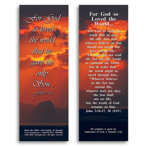 "Bible Cards & Bookmarks - For God So Loved The World - Pack Of 25 Cards - 2""x6"""