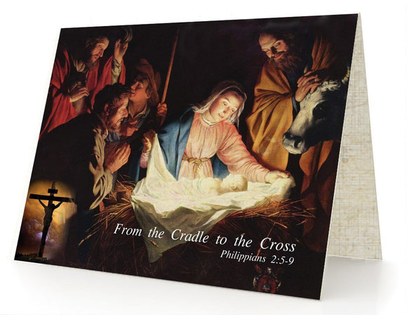 Bible Cards & Bookmarks - From The Cradle To The Cross - Box Of 10 Cards And 10 Envelopes