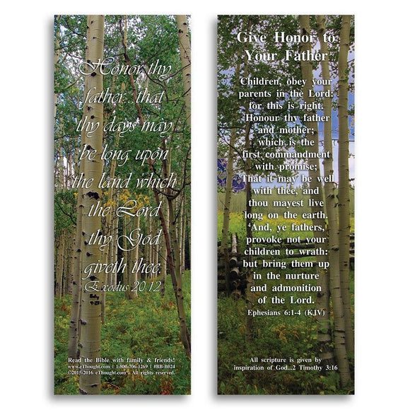 Bible Cards & Bookmarks - Give Honor To Your Father - Pack Of 25 Cards - 2