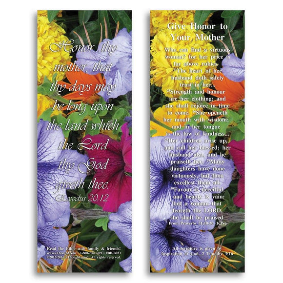 Bible Cards & Bookmarks - Give Honor To Your Mother - Pack Of 25 Cards - 2