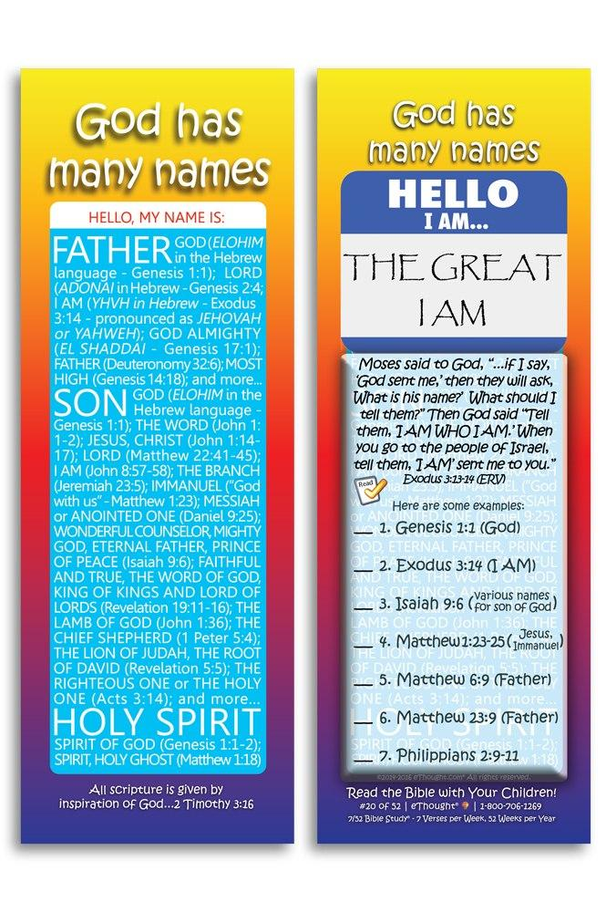 God Has Many Names - Pack of 25 Cards - size 2 75