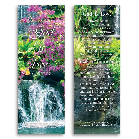 Bible Cards & Bookmarks - God Is Love - Pack Of 25 Cards - 2x6
