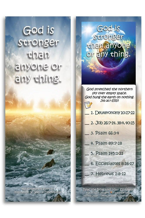 Bible Cards & Bookmarks - God Is Stronger Than Anyone Or Any Thing - Pack Of 25 Cards