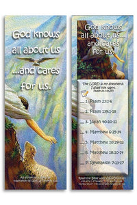 Bible Cards & Bookmarks - God Knows All About Us And Cares For Us - Pack Of 25 Cards