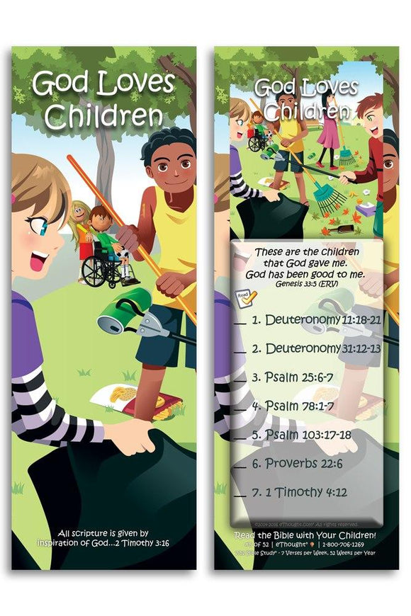 Bible Cards & Bookmarks - God Loves Children - Pack Of 25 Cards