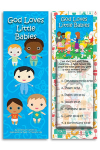 Bible Cards & Bookmarks - God Loves Little Babies - Pack Of 25 Cards