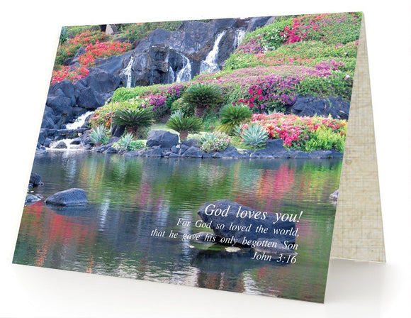 Bible Cards & Bookmarks - God Loves You - Box Of 10 Cards And 10 Envelopes