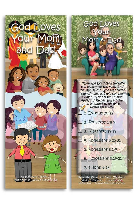 Bible Cards & Bookmarks - God Loves Your Mom And Dad - Pack Of 25 Cards