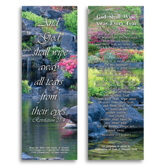 Bible Cards & Bookmarks - God Shall Wipe Away Every Tear - Pack Of 25 Cards - 2x6