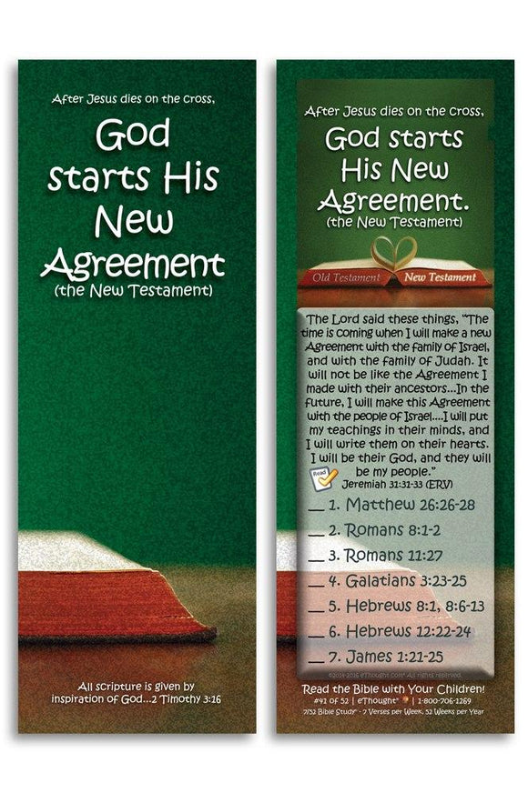 Bible Cards & Bookmarks - God Starts His New Agreement (New Testament) - Pack Of 25 Cards
