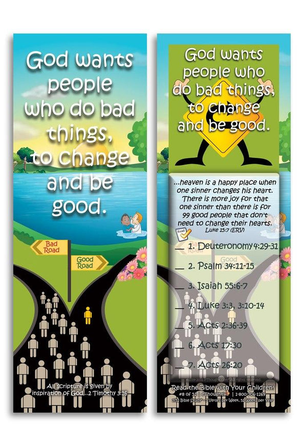 Bible Cards & Bookmarks - God Wants People Who Do Bad Things, To Change - Pack Of 25 Cards