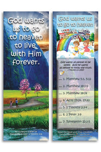 Bible Cards & Bookmarks - God Wants Us To Go To Heaven - Pack Of 25 Cards