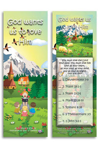 Bible Cards & Bookmarks - God Wants Us To Love Him - Pack Of 25 Cards