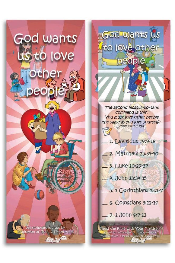 Bible Cards & Bookmarks - God Wants Us To Love Other People - Pack Of 25 Cards