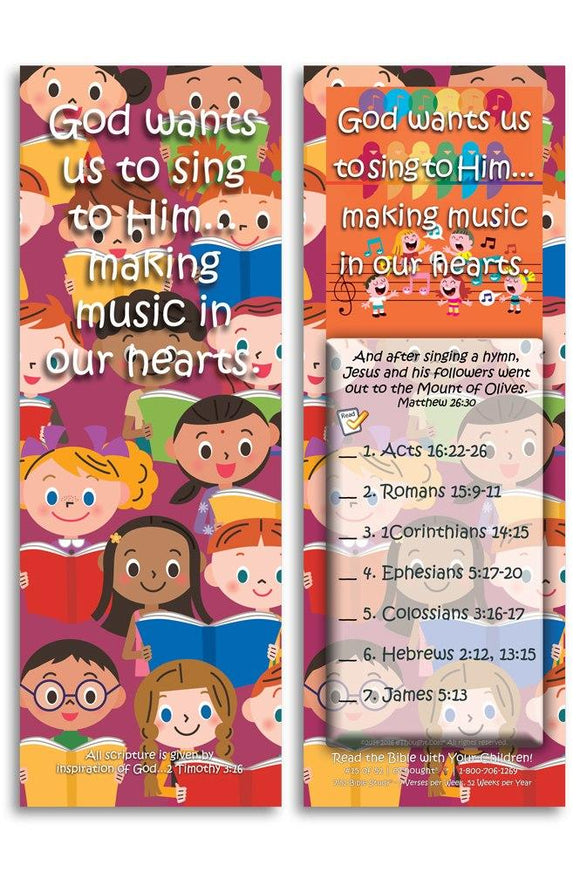Bible Cards & Bookmarks - God Wants Us To Sing To Him - Pack Of 25 Cards