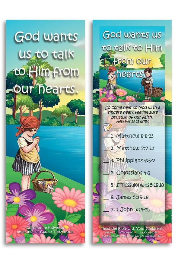 Bible Cards & Bookmarks - God Wants Us To Talk To Him - Pack Of 25 Cards