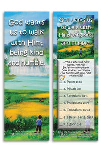 Bible Cards & Bookmarks - God Wants Us To Walk With Him - Pack Of 25 Cards