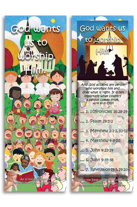 Bible Cards & Bookmarks - God Wants Us To Worship Him - Pack Of 25 Cards