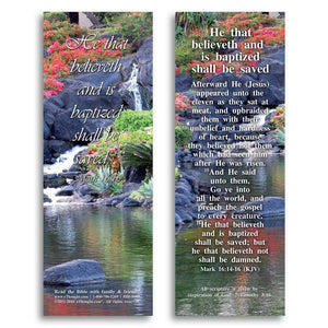 "Bible Cards & Bookmarks - He That Believes And Is Baptized - Pack Of 25 Cards - 2""x6"""