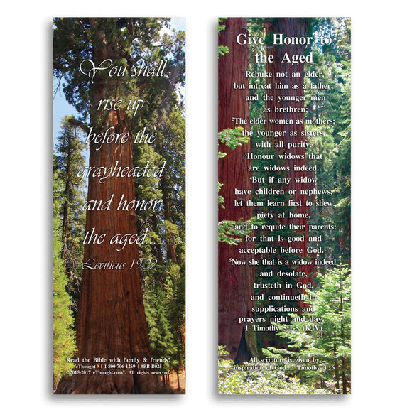 Bible Cards & Bookmarks - Honor The Aged - Pack Of 25 Bible Verse Cards - 2