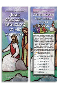 Bible Cards & Bookmarks - Jesus Gives Some Instructions To His Followers - Pack Of 25 Cards