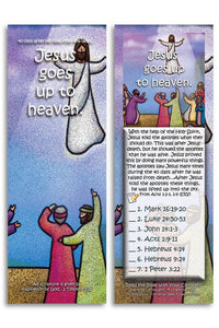 Bible Cards & Bookmarks - Jesus Goes Up To Heaven - Pack Of 25 Cards