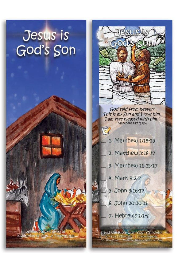 Bible Cards & Bookmarks - Jesus Is God's Son - Pack Of 25 Cards