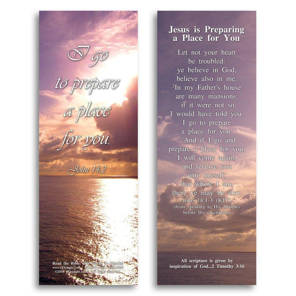 Bible Cards & Bookmarks - Jesus Is Preparing A Place For You - Pack Of 25 Cards - 2x6