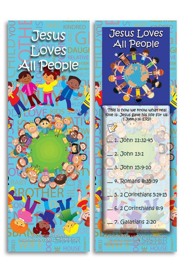 Bible Cards & Bookmarks - Jesus Loves All People - Pack Of 25 Cards
