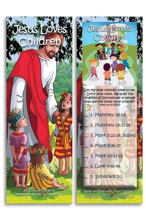Bible Cards & Bookmarks - Jesus Loves Children - Pack Of 25 Cards