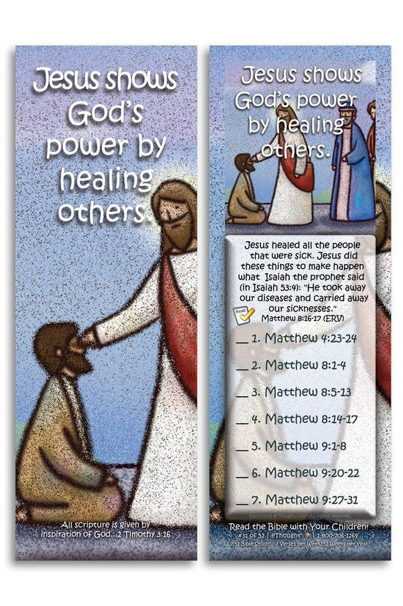 Bible Cards & Bookmarks - Jesus Shows God's Power By Healing Others - Pack Of 25 Cards