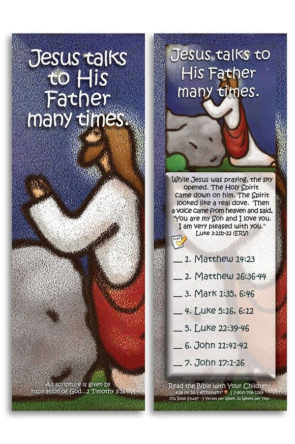 Bible Cards & Bookmarks - Jesus Talks To His Father Many Times - Pack Of 25 Cards