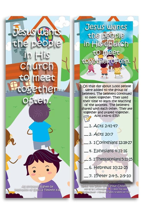 Bible Cards & Bookmarks - Jesus Wants His Church To Meet Together Often - Pack Of 25 Cards