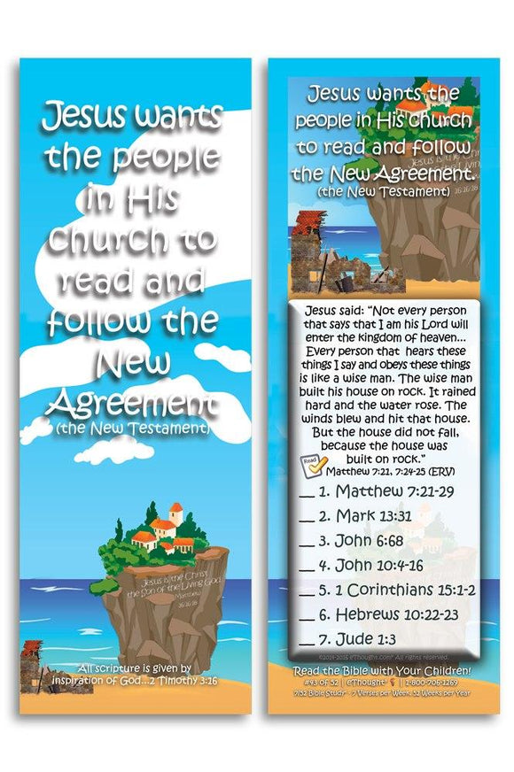 Bible Cards & Bookmarks - Jesus Wants His Church To Read And Follow - Pack Of 25 Cards