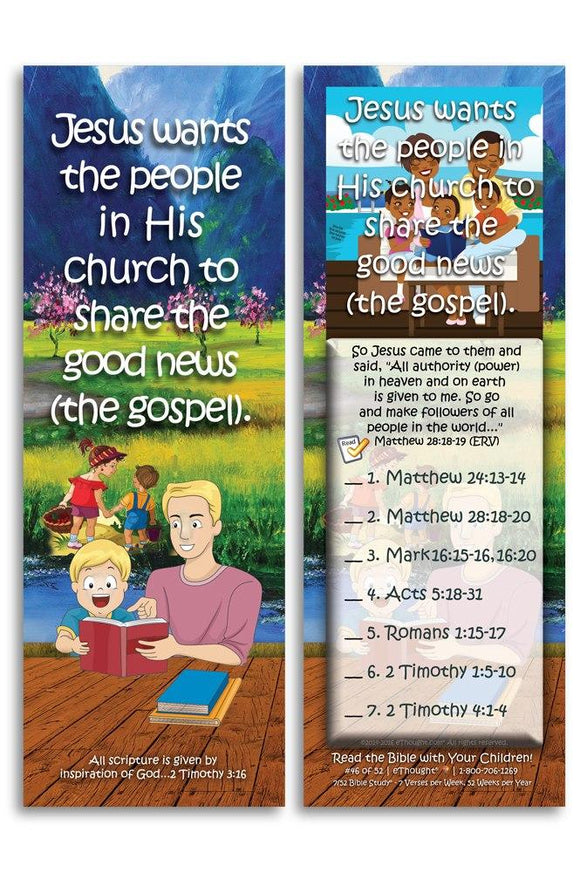 Bible Cards & Bookmarks - Jesus Wants His Church To Share The Good News - Pack Of 25 Cards